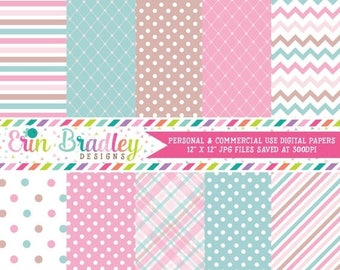 80% OFF SALE Instant Download Digital Paper Pack Personal and Commercial Use Pink Blue and Brown