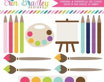 80% OFF SALE Painting Clip Art  Commercial Use Clipart Art Supplies Paints Pencils
