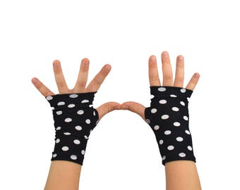 Toddler Arm Warmers in Black with White Polkadots - Fingerless Gloves