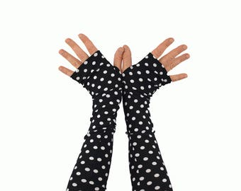 Arm Warmers in Black with White Polkadots - Fingerless Gloves