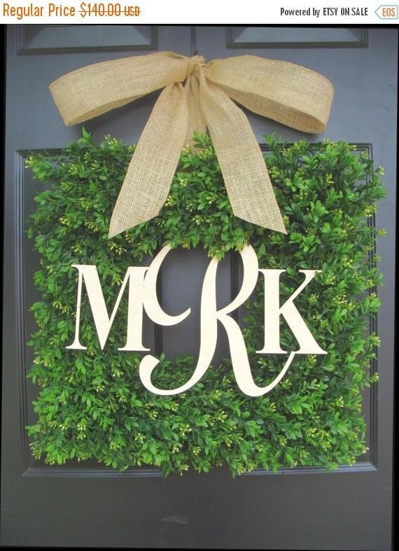 SUMMER WREATH SALE Monogram Wedding Gift, Couples Monogram Wreath, Wedding Decor, Shower Gift for Bride and Groom, Outdoor Decor, Personaliz