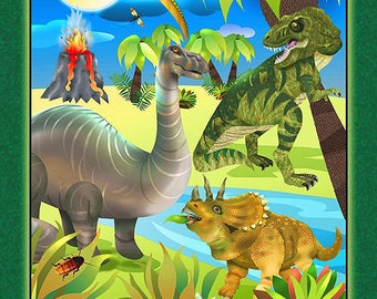 Children's Fabric Panel, Dino Might Dinosaur Cotton Panel by Giordano 24 x 44 inches