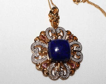 Genuine Lapis Lazuli, Pink Tourmaline sterling silver with 14k gold overlay gemstone pendant with chain, shipping included U.S & Canada