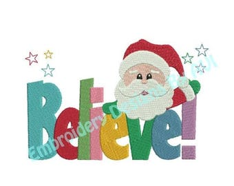 SALE 65% OFF Christmas Santa Claus Believe Saying Machine Embroidery Designs 4x4 & 5x7 Instant Download Sale