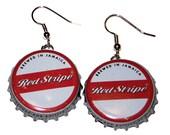 Red Stripe Jamaican Beer Bottle Cap Earrings Jewelry - From actual Bottle Caps