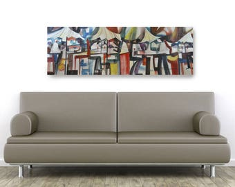 Cafe Dining, African American Art, Canvas Art, Canvas Wall Art,Home Decor Art, Canvas Painting,Abstract Art, Wall Art