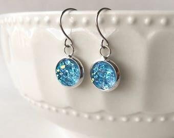 Faux Druzy 10mm, Light Blue Druzy Drop Earring, Silver Druzy Earring, Metallic Earrings, Silver Drop Earring