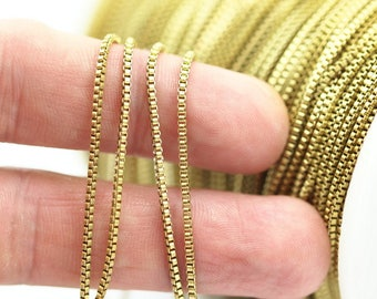 Cube Chain, Link Chain, 10m - Cube Raw Brass Chain (1.4mm) ( Z070 )