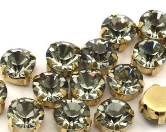 20 Ss39 Black Diamond Chaton Sew On Rhinestone Raw Brass Prong Setting 4 Hole Slider 8.3mm