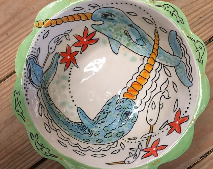 Narwhal, whale, handpainted sgraffito carved one of a kind, Fruit bowl