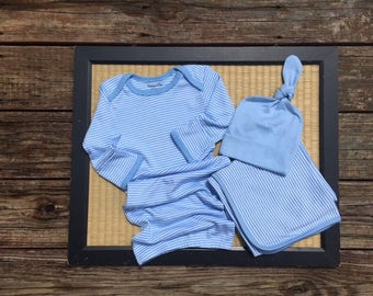 Monogrammed baby boy gown gift set.  Choose the pieces you want.  Preppy striped baby boy gown set.  Baby Boy Gift Set. 0-6 month size.