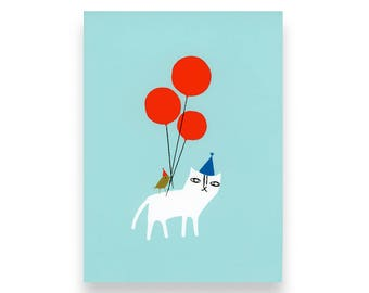 Cat and Birdie Birthday Card (screen printed)
