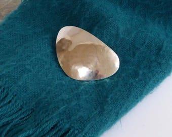 Silver brooch modernist elegant plain forged understated brooch