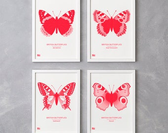 Set of 4 British Butterflies Screen Prints in Neon Red, Nature Wall Art, Butterfly Wall Art, Animal Wall Decor, British Butterfly Art Print