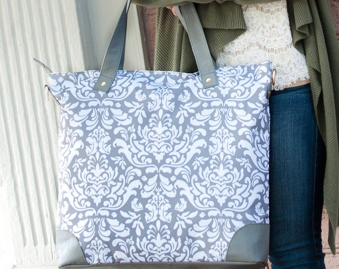 Spring grey shoulder tote work bag bestfriend Valentines bridesmaid classic damask luggage travel laptop Beach House Dreams OBX Outer Banks
