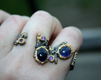 Unique Ring 14 K over 925 sterling silver,Black Rhodium , Blue Sapphire stones ,  Super Hot ,very moder style ,very elegant