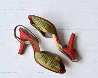 St. Cyr peeptoe heels | vintage 1950s shoes | woven leather 50s heels 6.5