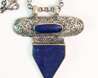 Lapis Lazuli Antique Silver Filigree Pendant.