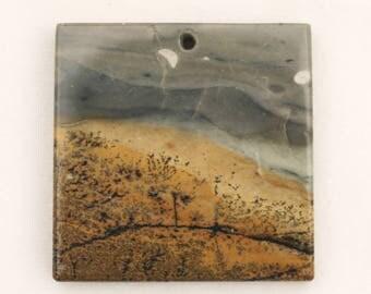 "Chohua Jasper aka Chinese Painting Jasper 1-3/4"" Square-Tile Focal Bead"