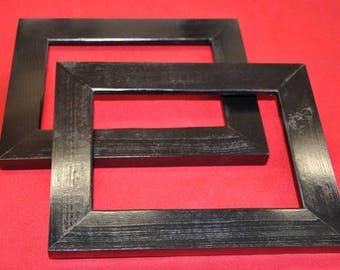 Pair of Black 8x10 Picture Frames with Glass, Backing and Mounting Hardware