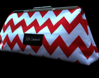 The Olive Clutch by JoJo Couture, in Red Chevron