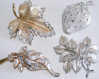Lot of Four Silver and Gold Brooches - Two Sarah Coventry