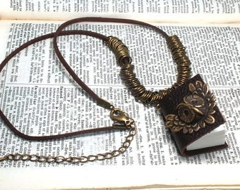 Oxidized Brass Owl Charm Miniature Sketch Book Pendant