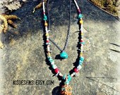 Layered Long Necklace with Vintage Inlayed Coral & Turquoise beaded Pendant