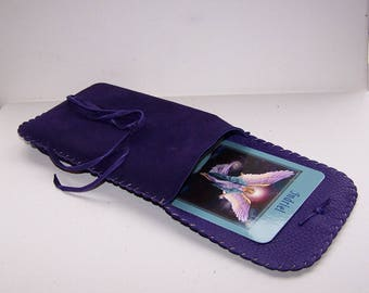 Leather Tarot Bag / Medicine Bag...LARGE Vertical Flap...PURPLE SUEDE