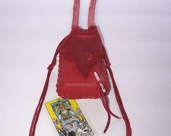 Beautiful Leather Medicine Bag / NECK BAG ..RED