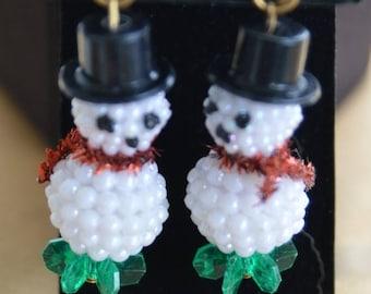 On sale Cute Vintage Beaded Snowman Clip Earrings, Plastic (AO10)
