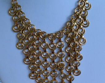 "Gold tone Circle Geometric Bib Necklace, 16"" New Old Stock, Rosann's (AB16)"