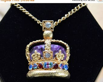 "On sale Enamel, Rhinestone Royal Crown Pendant Necklace, Purple, Multi-Colored, Gold tone, 23"" (C9)"