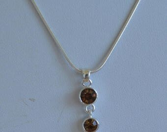 ON SALE Pretty Delicate Vintage Smokey Topaz Crystal Necklace, Silver tone, Adjustable, Snake Chain