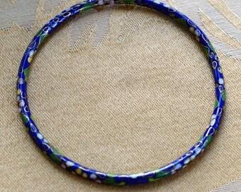 ON SALE Royal Blue Cloisonne Bangle Bracelet, 4mm, Vintage (AL8)