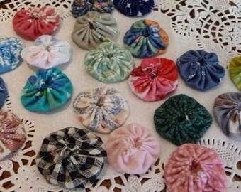 Handmade YoYos, 20 YoYos, Small 1 inch YoYos, Fabric YoYos, Supplies, Vintage Newer Fabrics, Multi Colors, Great for Crafts, Embellishments
