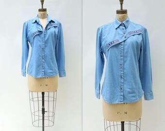 Vintage Denim Shirt 90s Cowgirl Shirt Embroidered Denim Southwestern Shirt Wrangler Denim Shirt Western Denim Shirt Embroidered Shirt s to m