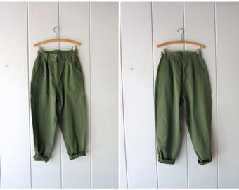 "80s Army Green Pants Vintage High Waist Cotton Pants Minimal Pleated Womens Trousers Tapered Pants Modern Basic Pants Womens 10 / 26"" waist"
