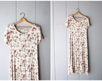 90s Woven Linen & Rayon Floral Dress Long Summer Slip Dress Shell Buttons Up the Front Flower Print Preppy Cream Pink Womens Small Medium