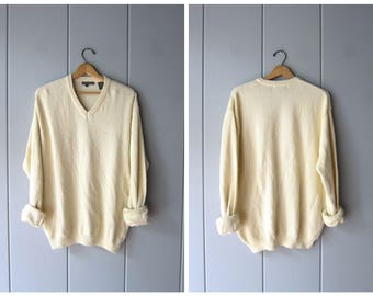 90s Oversized Sweater Minimal Nubby Knit Cream Pale Yellow Pullover Slouchy Boyfriend Shirt Thin Knit Thermal Sweater Mens Large