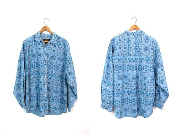 Vintage Thin Denim Shirt Printed Jean Shirt Slouchy Light Blue Cotton Button Up Grunge Boho Preppy Shirt 90s Eddie Bauer Womens Large