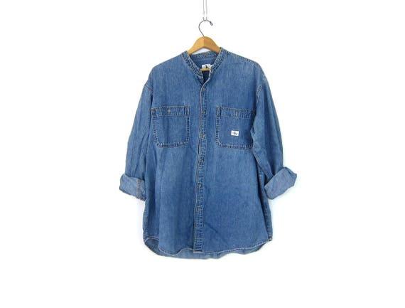 90s CK Jean Shirt Collarless Denim Shirt Button Up Oversized Calvin Klein Jean Shirt Collarless Oxford Pocket Shirt Mens Size XL