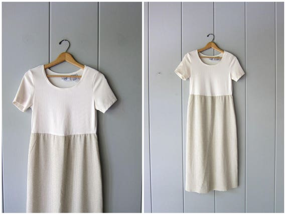 90s Beige & White Dress Minimal Midi Dress Vintage Short Sleeve Scoop Neck Dress Preppy Ribbed Checkered Dress Normcore Small Medium 6 P