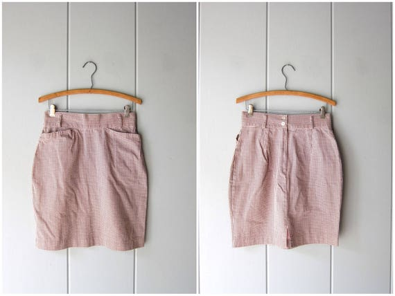 Vintage Checkered Mini Skirt Black & Pink Mod Skirt High Waist Miniskirt with Pockets 80s FORENZA School Girl Cotton Skirt Womens Medium