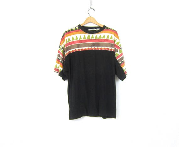 Oversized Boyfriend tee Shirt Long Black baggy Hipster Shirt Cotton Bugle Boy Tshirt Faded Tribal Pattern Print Men's Size Large