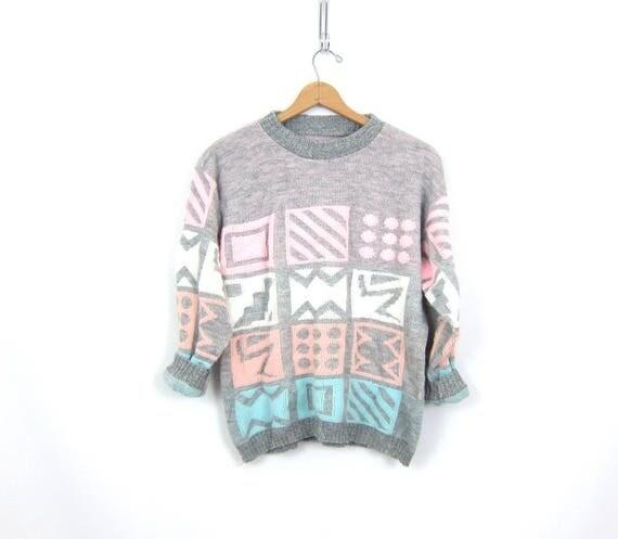 Geometric 1980s Sweater Retro Knit Graphic Pullover Gray Pastel Pink Blue Pattern Sweater Urban Street Wear Vintage Womens Size Medium Large