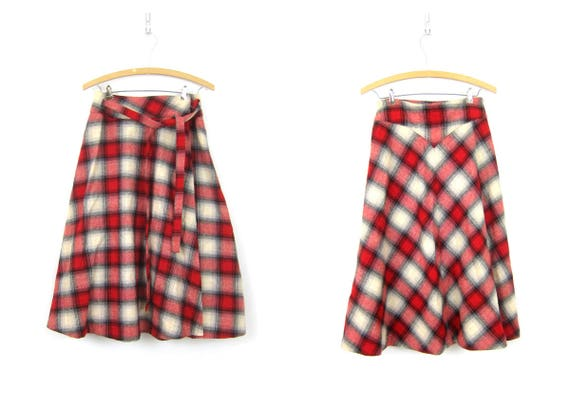 Long Plaid Wool Wrap Skirt School Girl Red and White High Waisted Preppy Wrap Around Skirt Women's Vintage Skirt Size 28 inch waist