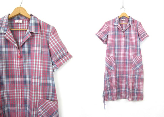 Vintage House Maid Duster dress Zipper front Artist Frock Pink Plaid lounge dress retro day dress Carolina Maid Pocket Dress Size 16 XL