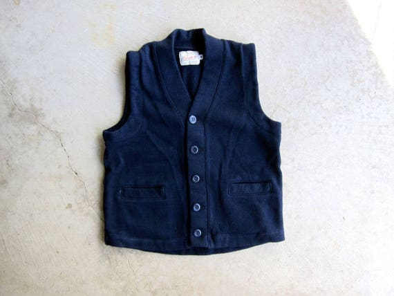 DEHEN Classic Cardigan Vest Navy Blue Heavyweight Worsted Wool 40s 50s Style Vest Top Button Up Outdoor Sweater Jacket Modern Mens Medium