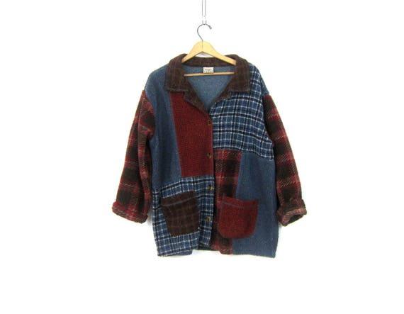 vintage fleece jacket Oversized Ski blanket coat Red Blue Fall Button Down sweater jacket Womens size Large